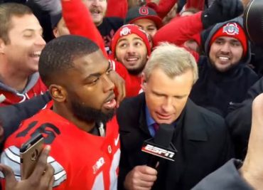 J.T. Barrett on the field after Michigan-Ohio 2016.