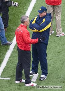 005 Jim Tressel Rich Rodriguez pregame Ohio State Michigan 2008 The Game football