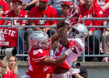 Ohio State Football Shaun Wade breaks up a pass against Binjimen Victor