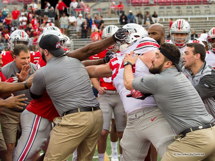 Things get a little heated in the Circle Drill Spring Game 2017