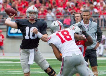 Ohio State backup quarterback Joe Burrow Throwing