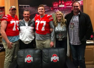 Max Wray and Urban Meyer smile for the camera as Wrey commits to be a Buckeye
