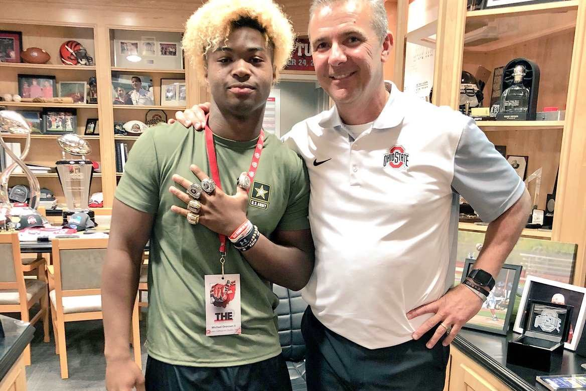 Michael Drennen and Urban Meyer Ohio State Recruiting Buckeyes