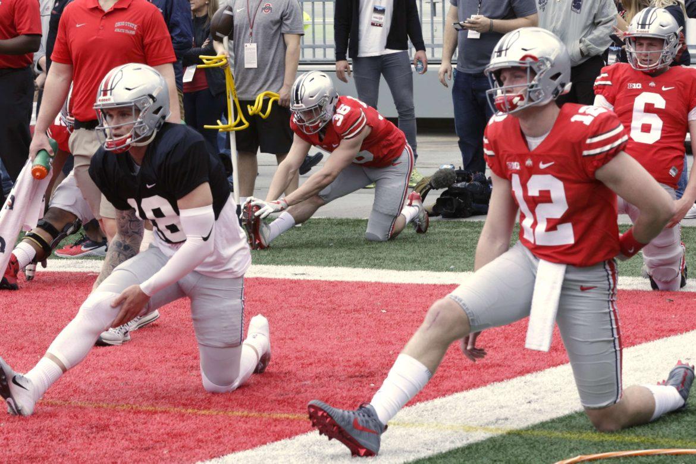 Ohio State football quarterbacks Tate Martell, Matthew Baldwin, and Kory Curtis