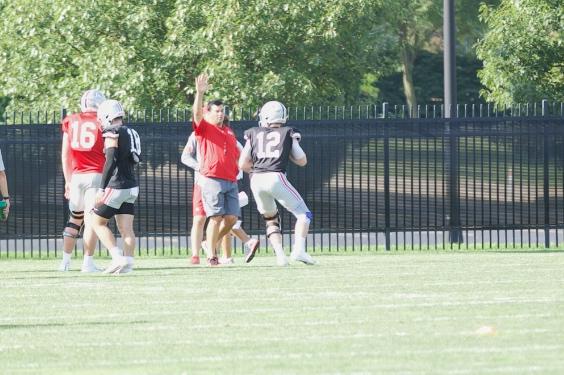 Ohio State football Ryan Day Matthew Baldwin practice