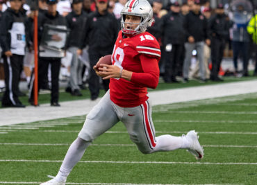 Ohio State football quarterback Tate Martell scramble