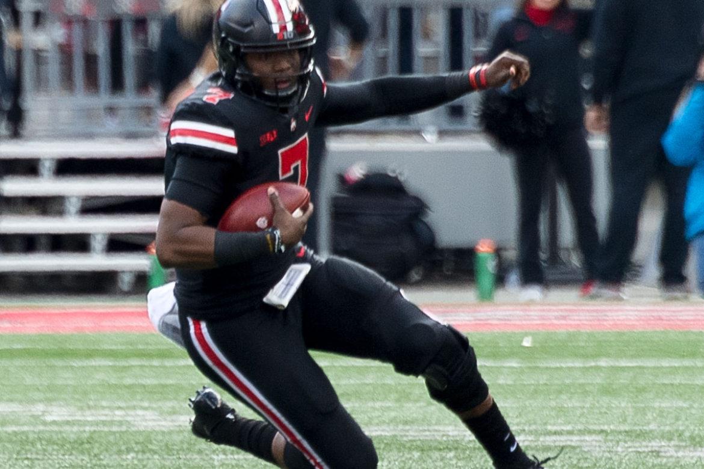 Ohio State football quarterback Dwayne Haskins running slide scramble