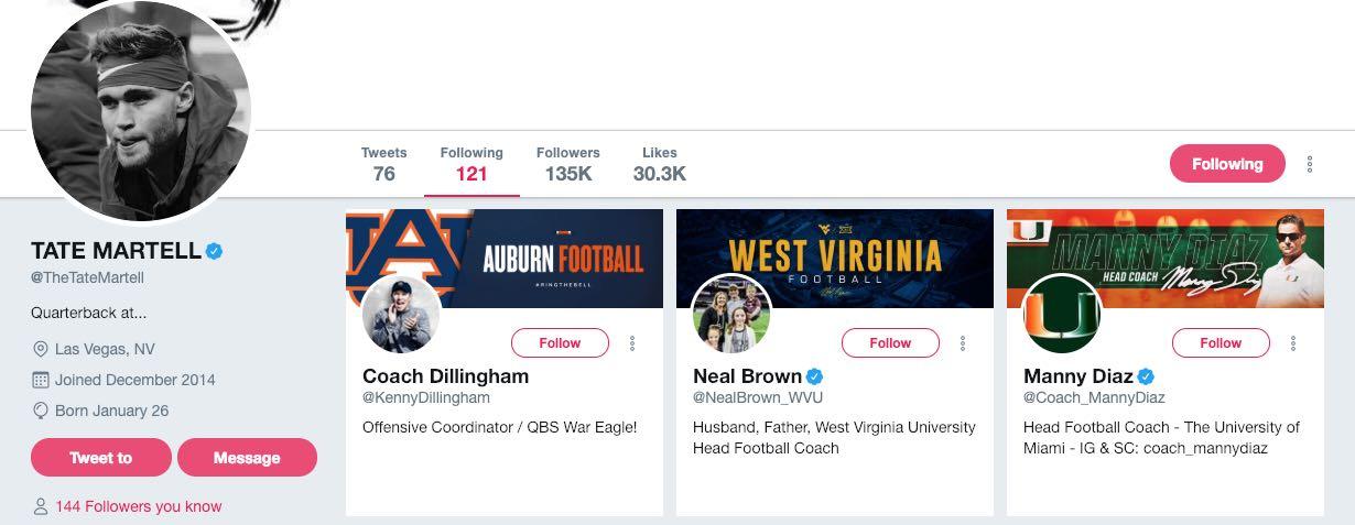 Ohio State Buckeyes football quarterback Tate Martell Twitter