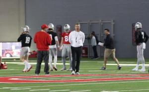 Urban Meyer with the quarterbacks