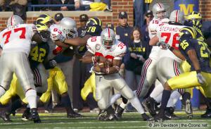 048 Lydell Ross Scott McMullen Adrien Clarke Ohio State Michigan 2003 The Game football