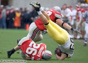 072 AJ Hawk Ashton Youboty Ohio State Michigan 2004 The Game football