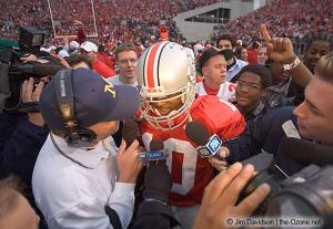 078 Troy Smith postgame celebration Ohio State Michigan 2004 The Game football