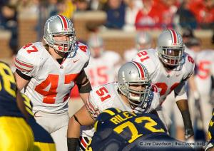 056 AJ Hawk Nate Salley Anthony Schlegel Ohio State Michigan 2005 The Game football