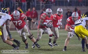 085 TJ Downing Antonio Pittman Troy Smith Stan White Ohio State Michigan 2007 The Game football