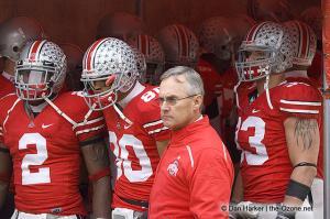 059 Malcolm Jenkins James Laurinaitis Brian Robiskie Jim Tressel Ohio State Michigan 2008 The Game football