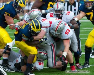 049 Orhian Johnson Storm Klein Adam Bellamy Ohio State Michigan 2011 The Game football
