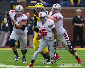 054 Jack Mewhort Braxton Miller JB Shugarts Ohio State Michigan 2011 The Game football