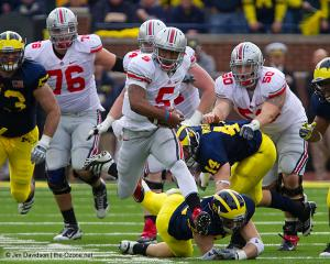 055 Mike Brewster Braxton Miller JB Shugarts Ohio State Michigan 2011 The Game football