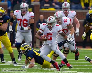 056 Mike Brewster Braxton Miller JB Shugarts Ohio State Michigan 2011 The Game football